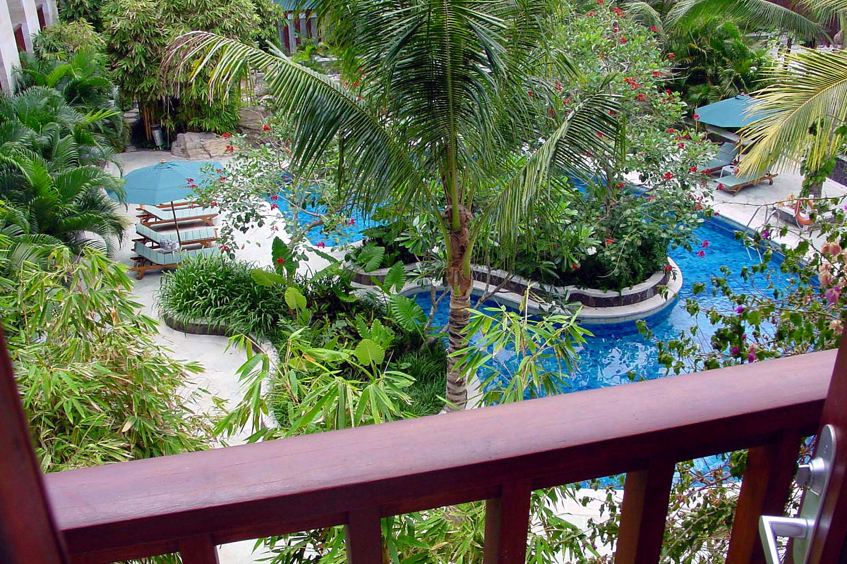 The view down to the pool from my room at the Hard Rock Hotel in Bali which is surrounded by lush plants and palm trees.