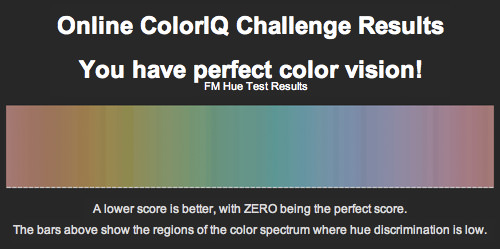 ColorIQ Test Results: Perfect Score!