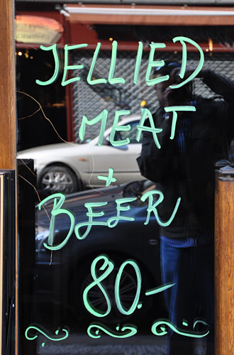 Jellied Meat + Beer Restaurant Sign