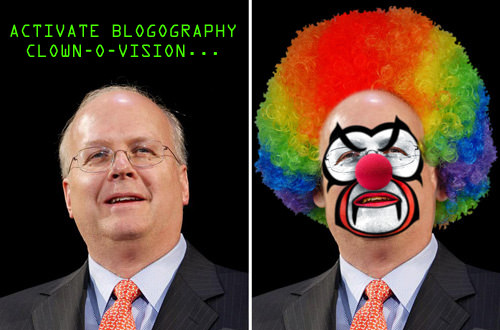 Karl Rove Makes One Scary-Ass Clown