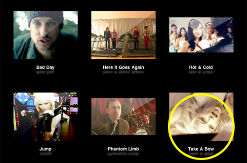Video selection menu with Madonna's