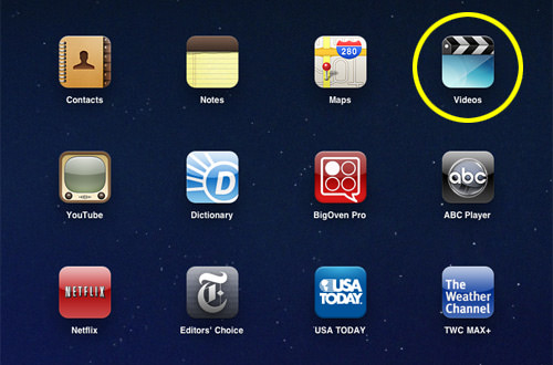 iPad Icon Menu Screen