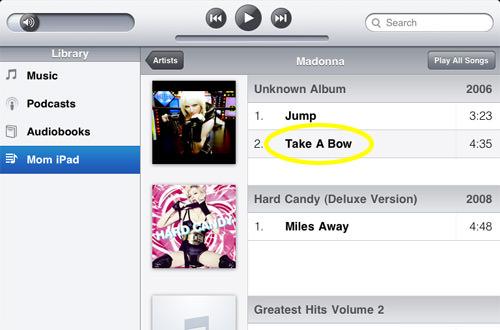 iPod Artist Listing