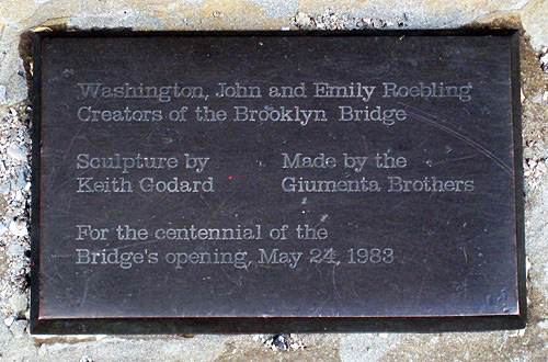 Brooklyn Bridge Creators Statue Plaque