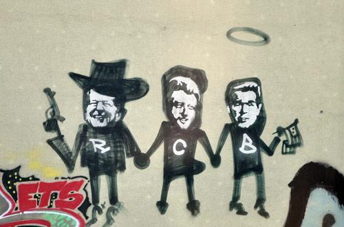 US Presidents Grafitti on a German Wall