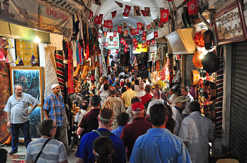 Busy Main Passage at the Medina Market