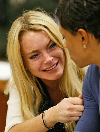 Stupid Worthless Whore Lohan Crying in Court (C)2010 Getty Images