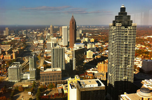 View of Atlanta from the top of the Westin Peachtree Plaza