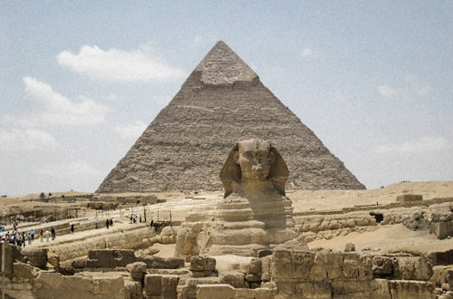 Sphynx and Pyramid in Egypt