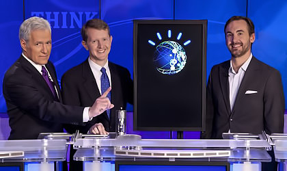 Watson on Jeopardy with Alex Trebek, Ken Jennings, and Brad Rutter