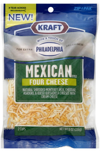 NEW! Kraft brand Mexican Four Cheese Blend with a touch of Philadelphia Cream Cheese for extra creaminess!