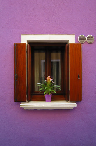 Burano Window on a Purple House