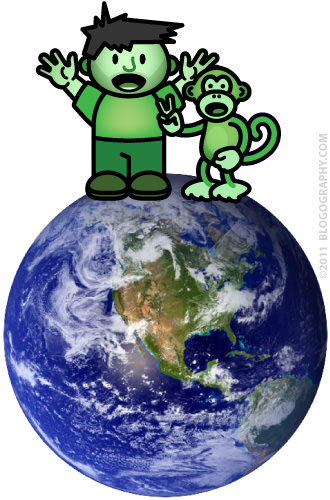 DAVETOON: Green Dave and Green Monkey on the Earth