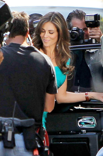 Liz Hurley arrives in L.A. for Wonder Woman shoot