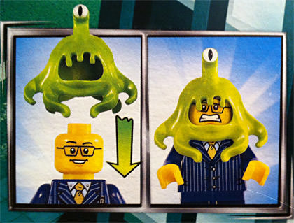 LEGO MiniFig getting his brain eaten by an alien slug