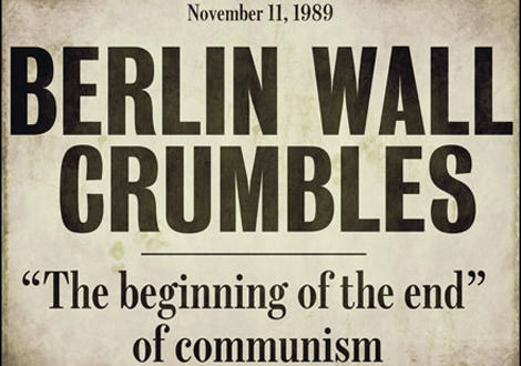 Headline Berlin Wall Crumbles 1989