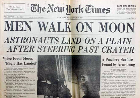 Headline Man Walks on Moon 1969