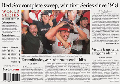 Headline Red Sox Wins the Series 2004