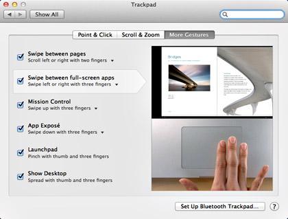 MacOS X Lion Gestures
