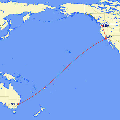 Seattle to LAX to Sydney on The Great Circle Mapper!