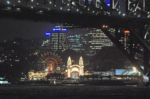 Sydney Harbour Night Luna Park