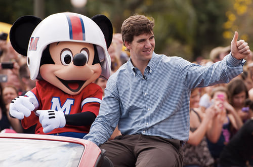 Eli Manning and Mickey Mouse