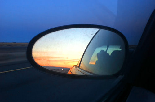 Rear View Mirror Sunset