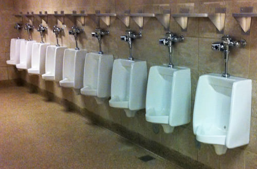 Sea-Tac Packed Urinals