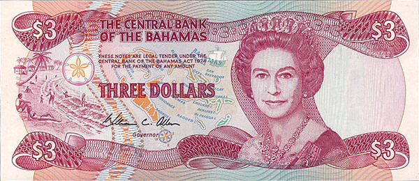 Bahamian Three Dollar Bill