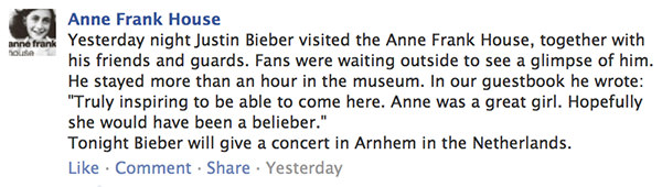 Bieber at Anne Frank House