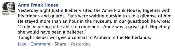 Bieber at Anne Frank House
