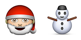 happy santa and snowman emoji from apple