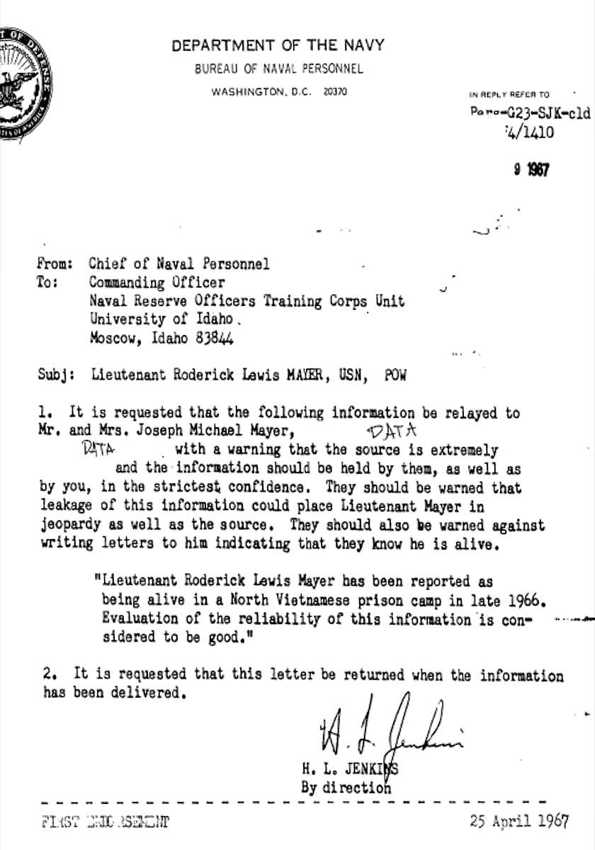 Mayer POW Letter