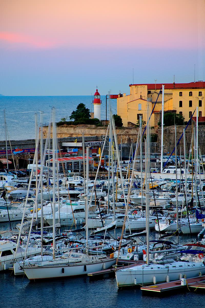 Pulling into Ajaccio, Corsica, France at sunrise.