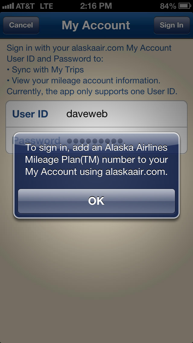 Alaska Airlines App FAIL Need Account