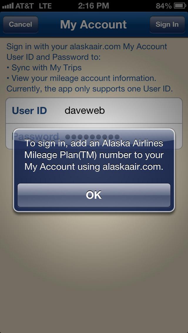 Alaska Airlines App FAIL Need Account