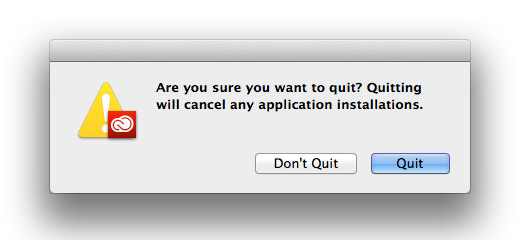 Creative Cloud Quit Warning!