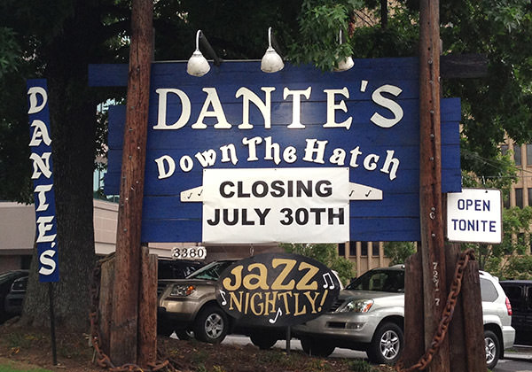 Dante's Down the Hatch Sign