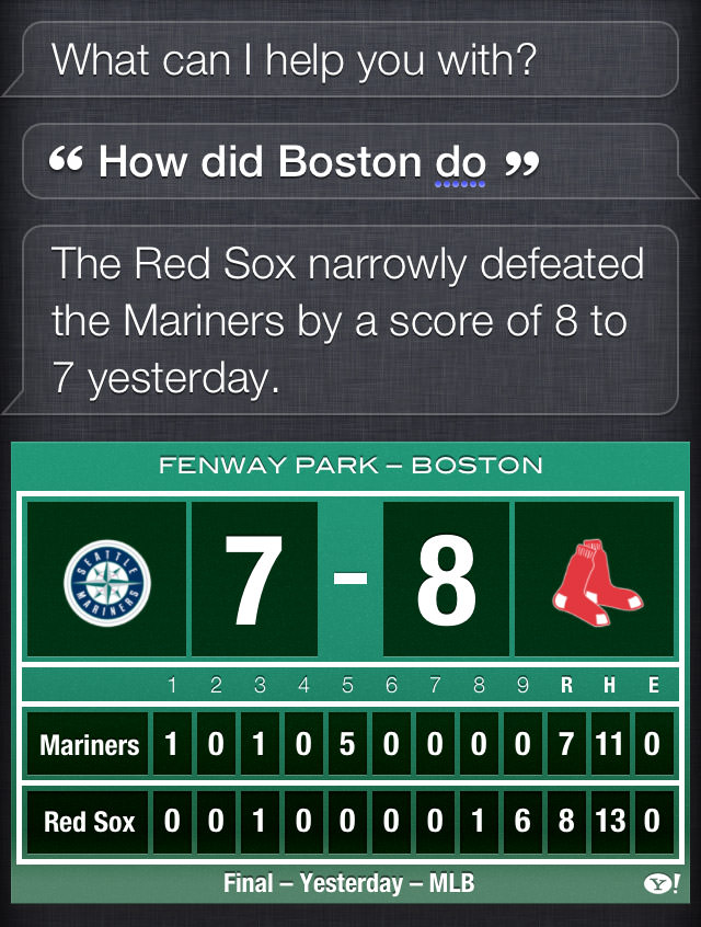 The Red Sox narrowly defeated the Mariners by a score of 8 to 7 yesterday.