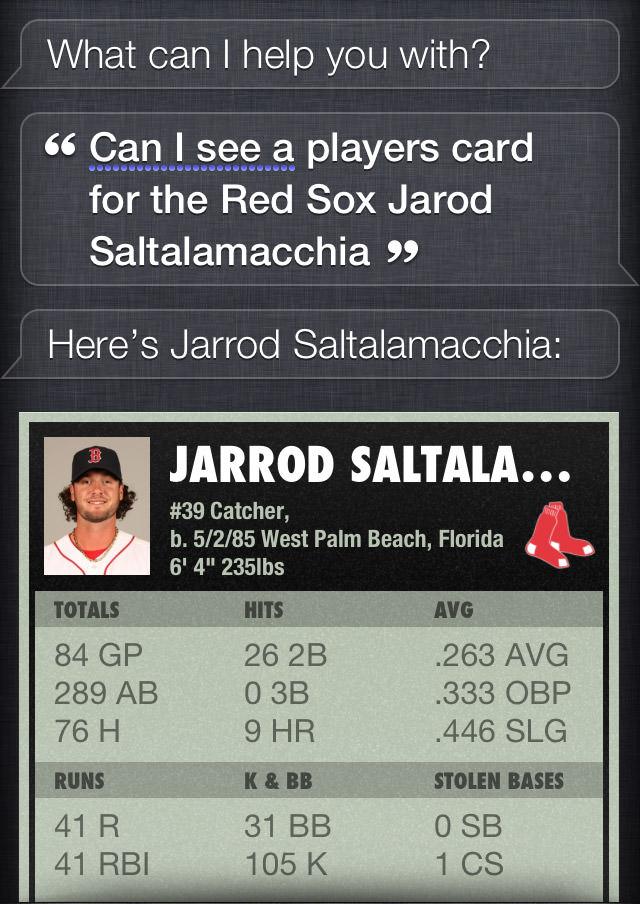 Siri Jarrod Saltalamacchia Player Card