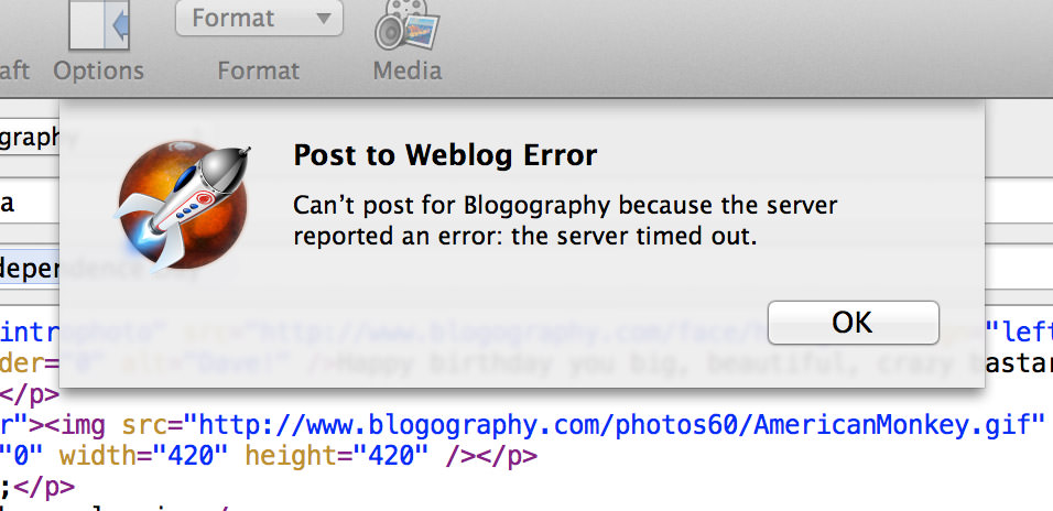 Weblog Error Can't post!