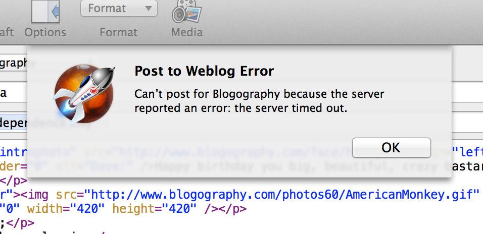 Weblog Error Can't post!