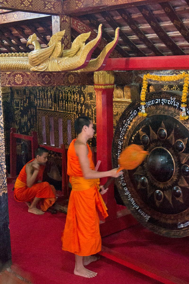 Monks Call to Prayer at a Temple in Luang Prabang, Laos