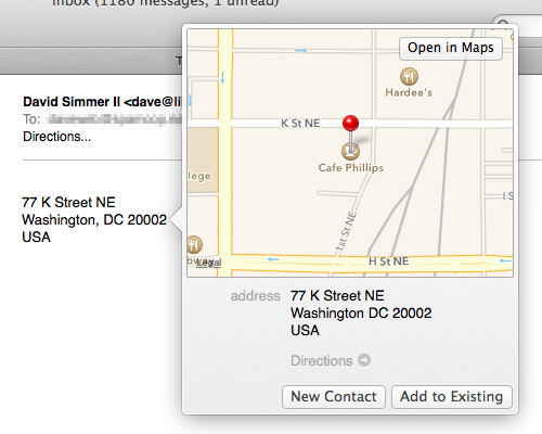 Mavericks Mail Maps