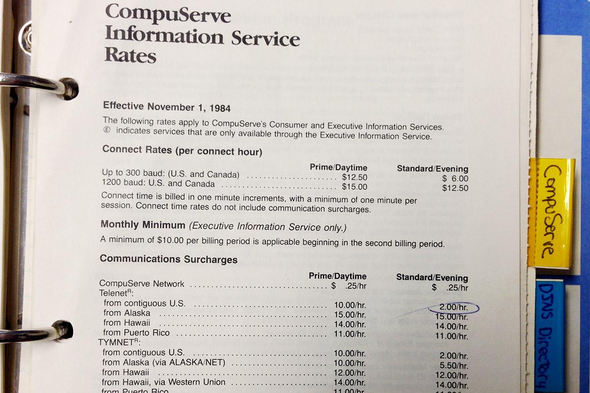 CompuServe Rates 1984