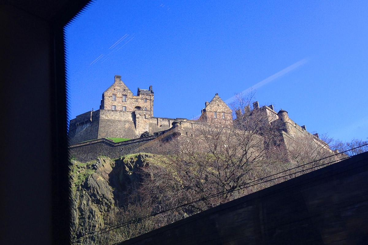 Edinburgh Castle from the Train