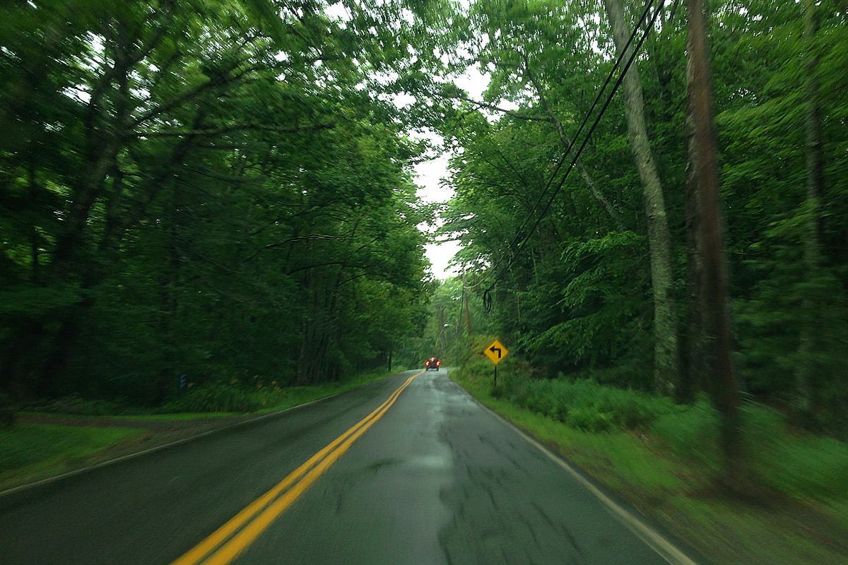 Rainy Maine Road Drive