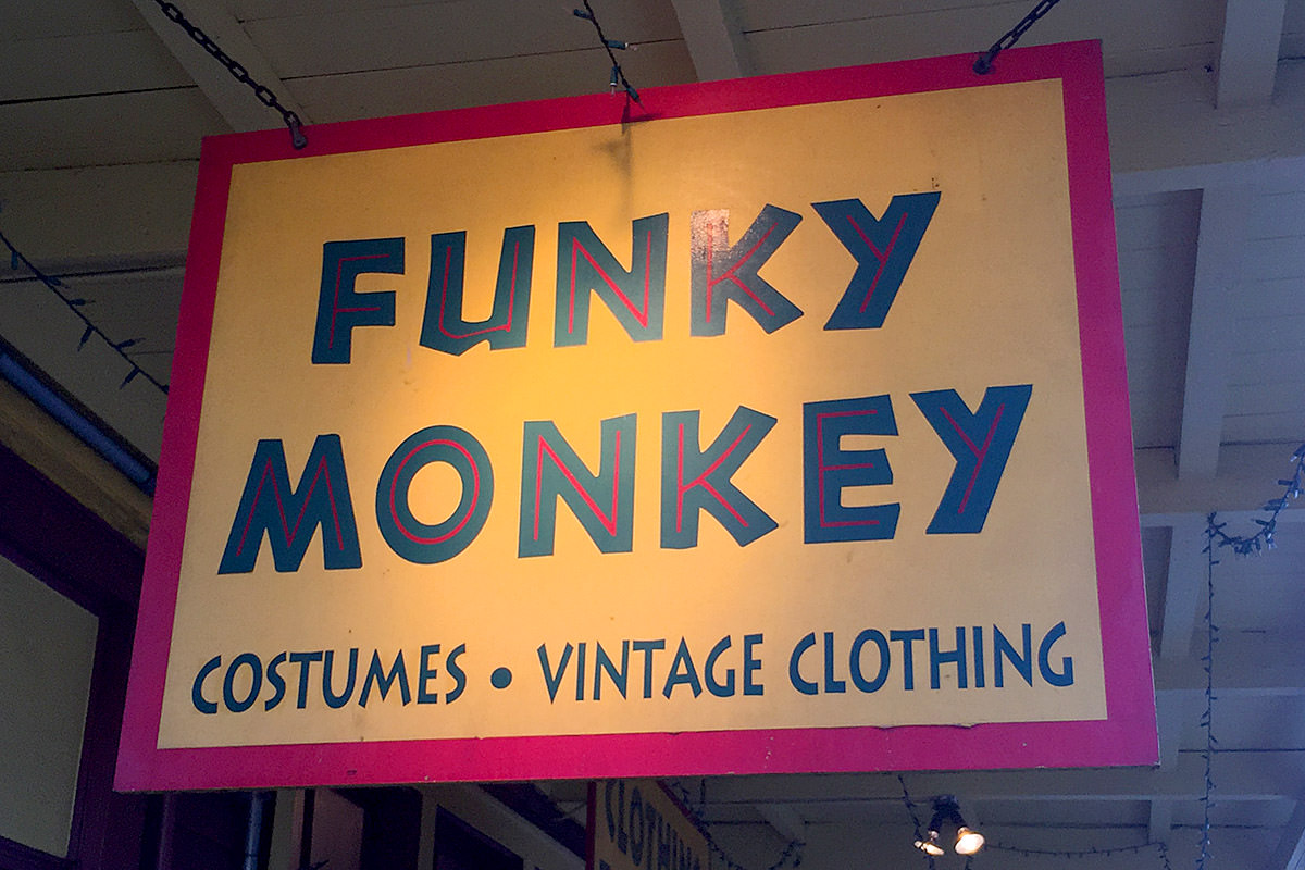 Shopping at Funky Monkey.