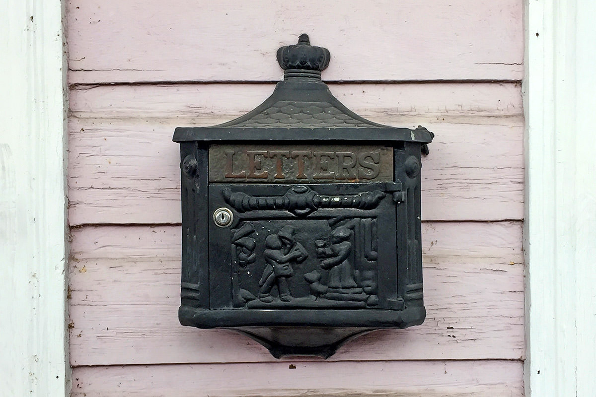 Cast Iron Mail Box.