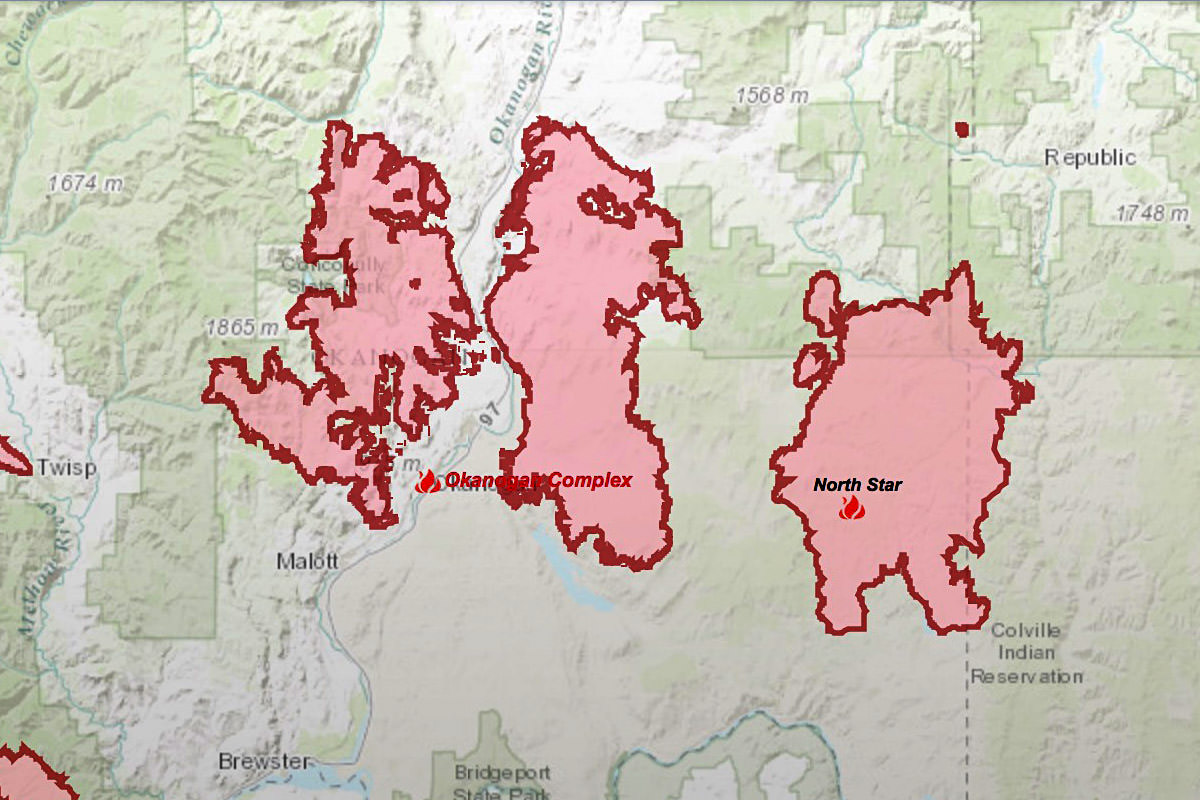 Okanogan Complex Fire Map